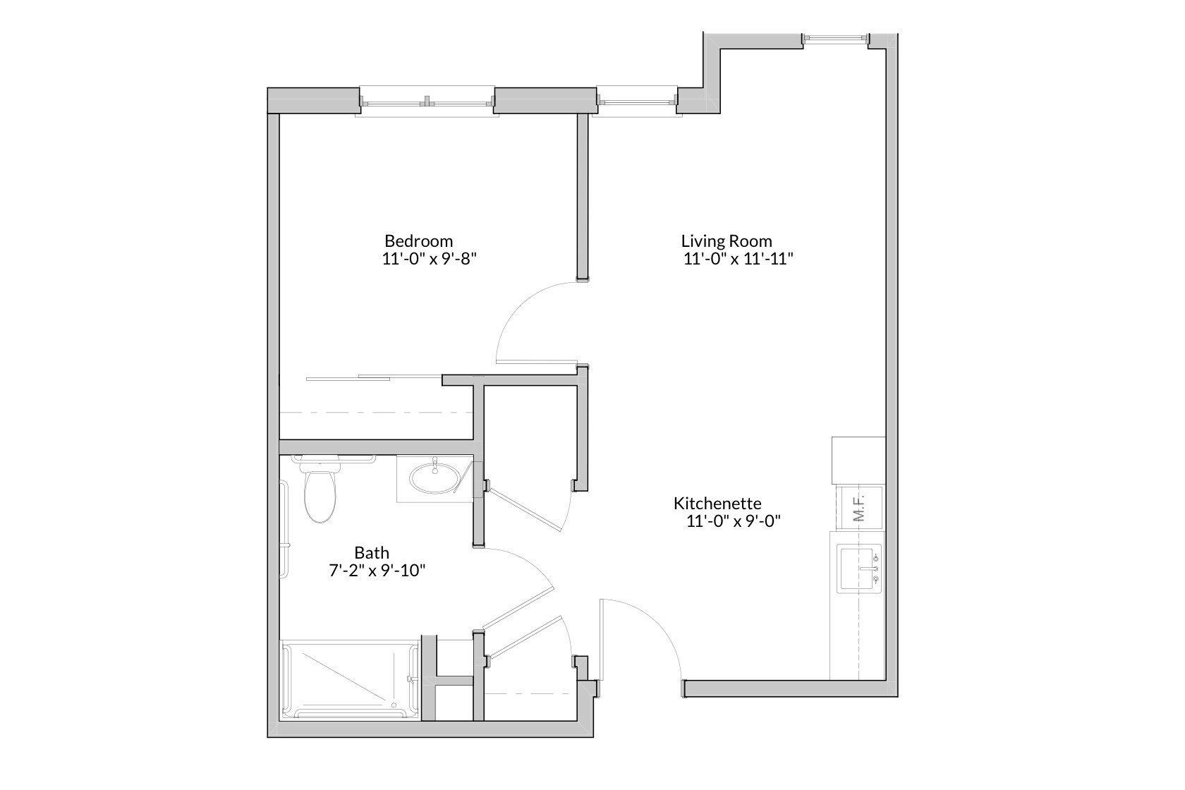 GateWay One Bedroom Floor Plan
