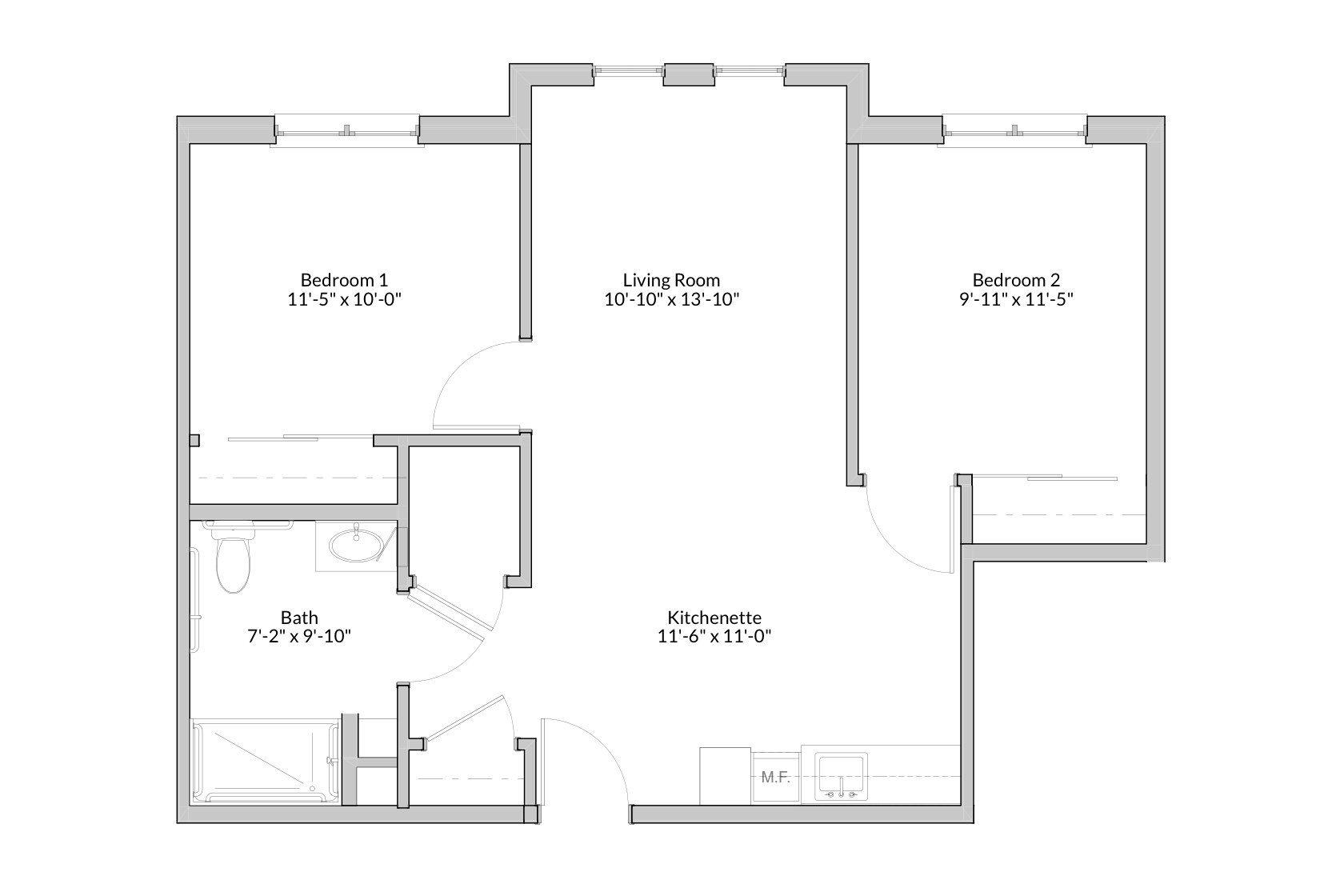 GateWay Two Bedroom Floor Plan